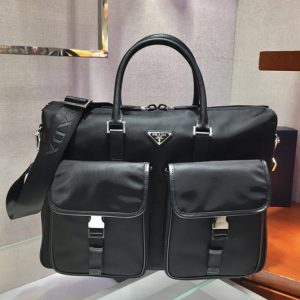 Replica Prada 2VE017 Nylon Briefcase bag in Black Nylon