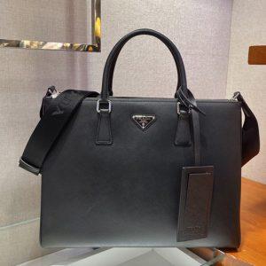 Replica Prada 2VG061 Saffiano Leather Tote Bag in Black Calf leather