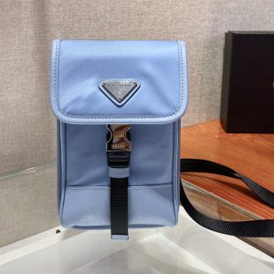 Replica Prada 2ZH109 Nylon and Saffiano Leather Smartphone Case in Blue Nylon