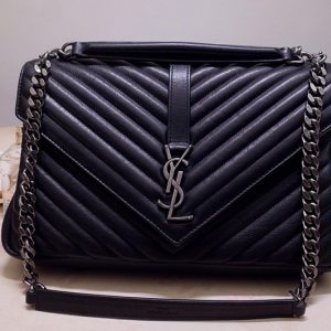 Replica Saint Laurent 487212 YSL COLLEGE LARGE IN Black MATELASSÉ LEATHER With Silver Hardware