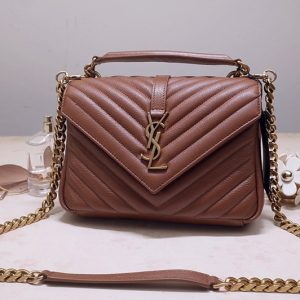 Replica Saint Laurent 487213 YSL COLLEGE Medium Bag IN Brown MATELASSÉ LEATHER With Gold Hardware