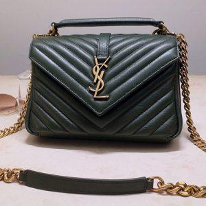 Replica Saint Laurent 487213 YSL COLLEGE Medium Bag IN Green MATELASSÉ LEATHER With Gold Hardware