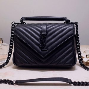 Replica Saint Laurent 487213 YSL COLLEGE Medium Bag IN Black MATELASSÉ LEATHER With Black Hardware