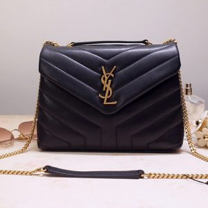 Replica Saint Laurent 494699 YSL LOULOU SMALL BAG IN Black Y-QUILTED LEATHER With Gold Hardware