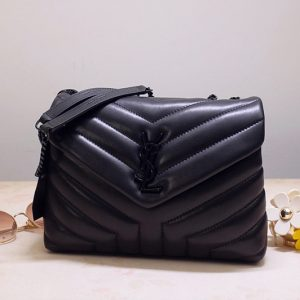 Replica Saint Laurent 494699 YSL LOULOU SMALL BAG IN Black Y-QUILTED LEATHER With Black Hardware