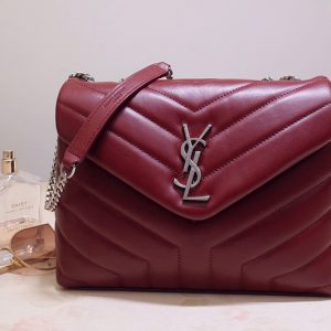 Replica Saint Laurent 494699 YSL LOULOU SMALL BAG IN Red Y-QUILTED LEATHER With Silver Hardware