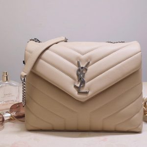 Replica Saint Laurent 494699 YSL LOULOU SMALL BAG IN Beige Y-QUILTED LEATHER With Silver Hardware