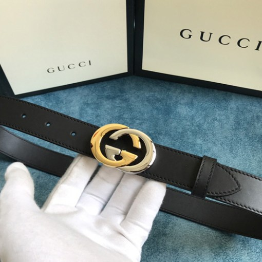 Replica Gucci 574807 30mm Belt with Shiny Gold/Silver Interlocking G buckle in Black Leather