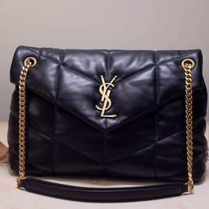 Replica Saint Laurent 577476 YSL LOULOU PUFFER SMALL BAG IN Black QUILTED LAMBSKIN With Gold Hardware