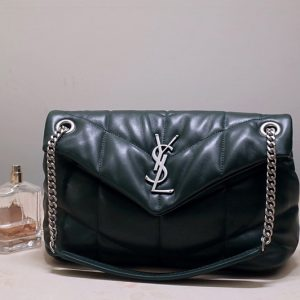 Replica Saint Laurent 577476 YSL LOULOU PUFFER SMALL BAG IN Green QUILTED LAMBSKIN With Silver Hardware