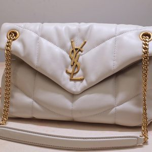 Replica Saint Laurent 577476 YSL LOULOU PUFFER SMALL BAG IN White QUILTED LAMBSKIN With Gold Hardware