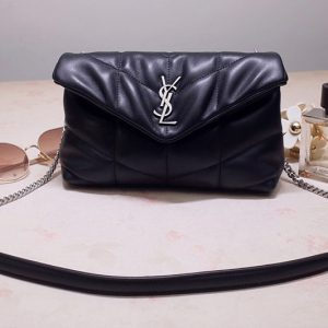 Replica Saint Laurent 619757 YSL LOULOU PUFFER MINI BAG IN Black QUILTED LAMBSKIN