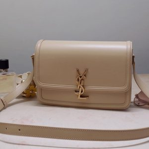 Replica Saint Laurent 634305 YSL SOLFERINO MEDIUM SATCHEL Bag IN Beige BOX SAINT LAURENT LEATHER