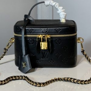 Replica Louis Vuitton M44985 LV Nice Mini beauty case in Black Monogram Empreinte Leather