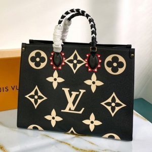 Replica Louis Vuitton M45373 LV Crafty OnTheGo GM tote bag in Black Embossed grained cowhide leather