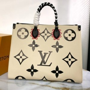 Replica Louis Vuitton M45372 LV Crafty OnTheGo GM tote bag in Black Embossed grained cowhide leather