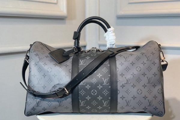 Replica Louis Vuitton M45392 LV Keepall Bandoulière 50 Bag in Monogram Eclipse canvas