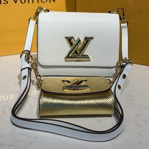 Replica Louis Vuitton M50332 LV Twist PM chain bag in White/Gold Epi leather