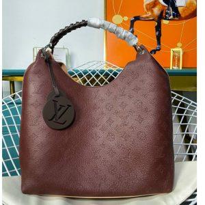 Replica Louis Vuitton M53188 LV Carmel hobo bag in Bordeaux Mahina Calf leather