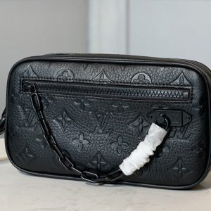 Replica Louis Vuitton M55703 LV Pochette Volga Men Clutch in Black Taurillon Leather