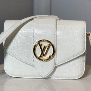 Replica Louis Vuitton N98063 LV LV Pont 9 shoulder bag in White Alligator leather