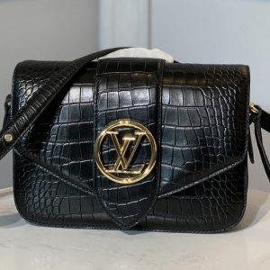 Replica Louis Vuitton N98478 LV LV Pont 9 shoulder bag in Black Alligator leather
