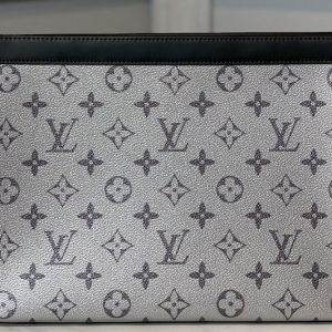 Replica Louis Vuitton M61692 LV Pochette Voyage MM Bags in Silver Monogram Eclipse Canvas