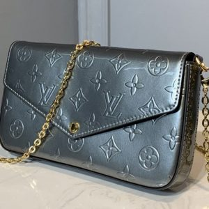 Replica Louis Vuitton M68648 LV Pochette Felicie Bag in Silver Monogram Vernis Calf leather