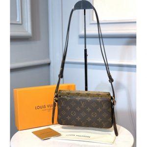 Replica Louis Vuitton M69156 LV Pochette Double Zip Bag in Monogram Canvas and Monogram Reverse Canvas