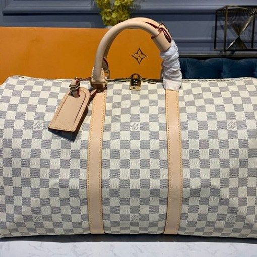 Replica Louis Vuitton N41430 LV Keepall Bandouliere 50 Bag in Damier Azur Canvas