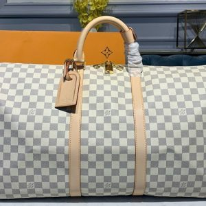 Replica Louis Vuitton N41429 LV Keepall Bandouliere 55 Bag in Damier Azur Canvas