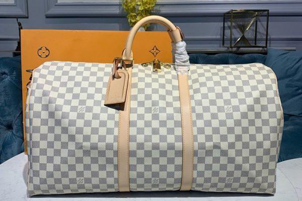 Replica Louis Vuitton N41429 LV Keepall Bandouliere 55 Bag in Damier Azur Canvas