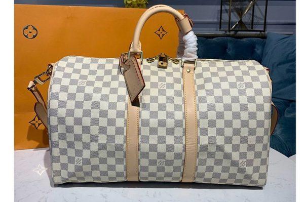 Replica Louis Vuitton N48223 LV Keepall Bandouliere 45 Bag in Damier Azur Canvas