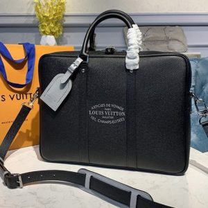 Replica Louis Vuitton M30365 LV Porte Documents Voyage Bag in Black Taiga leather