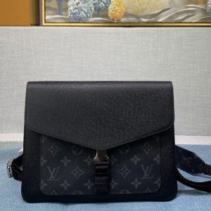Replica Louis Vuitton M30413 Outdoor flap messenger Bag in Taiga Leather and Monogram Eclipse Canvas