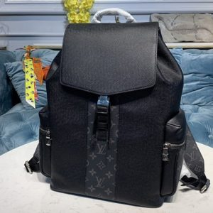 Replica Louis Vuitton M30417 LV Outdoor backpack in Taiga leather with Monogram Eclipse canvas
