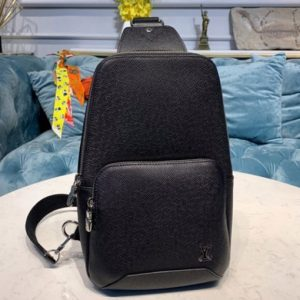 Replica Louis Vuitton M30443 LV Avenue Sling Bag in Black Taiga leather