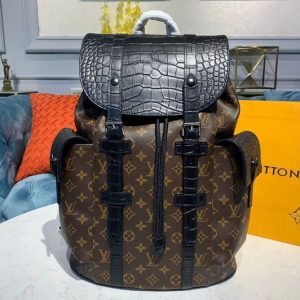 Replica Louis Vuitton N93491 LV Christopher PM Backpack Monogram canvas and crocodile mat