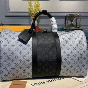 Replica Louis Vuitton M43818 LV Keepall 50 Bandouliere Travel Bags Monogram Eclipse canvas