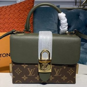 Replica Louis Vuitton M44797 LV Locky BB bags Monogram Canvas And Green smooth leather