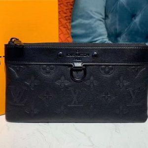 Replica Louis Vuitton M44335 LV Discovery Pochette PM Bags Black Monogram Shadow calf leather