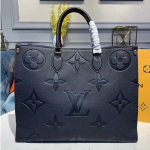 Replica Louis Vuitton M44570 LV Onthego tote bags Navy Blue Taurillon leather