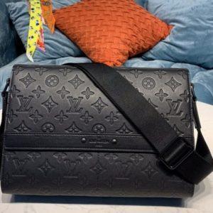 Replica Louis Vuitton M44729 LV Sprinter Messenger bag in Black Monogram Shadow Leather