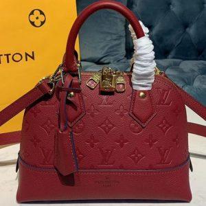 Replica Louis Vuitton M44829 LV Alma BB handbags Red Taurillon leather