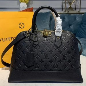 Replica Louis Vuitton M44832 LV Alma PM handbags Black Taurillon leather