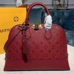 Replica Louis Vuitton M44832 LV Alma PM handbags Red Taurillon leather