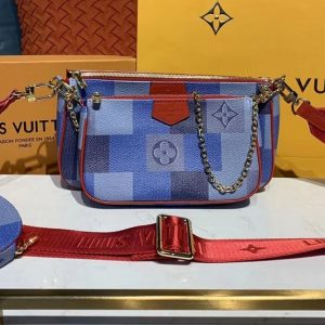 Replica Louis Vuitton M44813 LV Multi Pochette Accessoires cross-body bags Monogram canvas With Red Strap