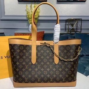 Replica Louis Vuitton M44878 LV Cabas Voyage tote Bags Monogram canvas With natural leather