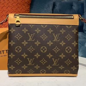 Replica Louis Vuitton M44879 LV Saumur Messenger PM bag Monogram canvas and natural leather