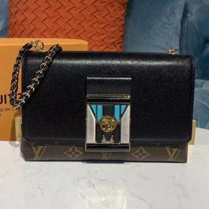 Replica Louis Vuitton M44916 LV Pochette LV Thelma Bags Black grained calfskin leather and Monogram canvas